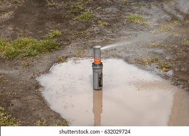 Lawn sprinkler need adjustment. Water springer in puddle surrounded bare earth. Garden grass irrigation. Yard grass sprinkler.
