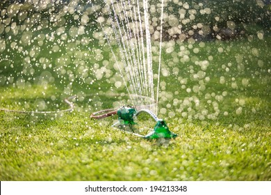 Lawn sprinkler spaying water over green grass. Irrigation system. backlight, shallow depth of field, blurred bokeh sun effect