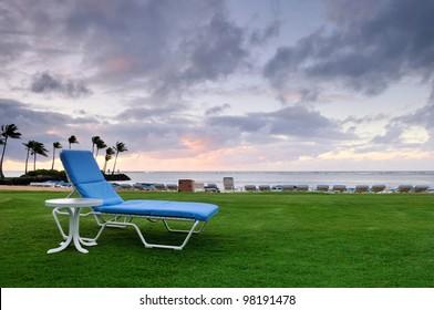 Lawnchair on a resort in Oahu, Hawaii