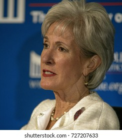 Lawrence, Kansas, USA, 12th February,  2015 Former Secretary of Health and Human Services Kathleen Sebelius answers questions from audience during the first in the series 2015 Presidential lectures.