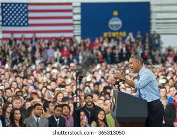 Lawrence, KS - January 22, 2015: President Obama speaks at the University of Kansas