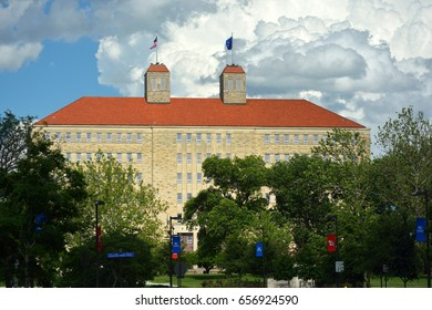 LAWRENCE, KS, USA - May 30, 2017: The University of Kansas Fraser Hall building on Mount Oread, the highest point on campus. It is home to the anthropology, sociology, and psychology departments.