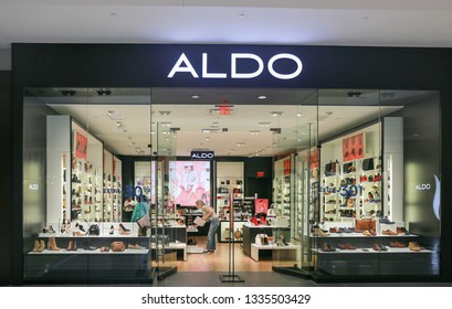 Lawrence Township New Jersey, February 24, 2019:Aldo store front at Quaker Bridge shopping mall.The Aldo Group is a Canadian retailer spedialized in shoes and accessories stores. - Image