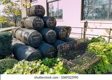 Lawrenceburg, KY, USA - November 6, 2016 : Historic Four Roses Bourbon Distillery on Kentucky Bourbon Trail.