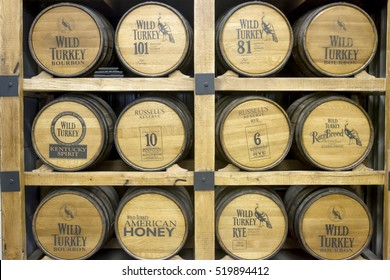 Lawrenceburg, KY, USA - October 19, 2016 :  Barrels of Wild Turkey Bourbon, Russell's Reserve Rye, American Honey, and Rare Breed on display in distillery.
