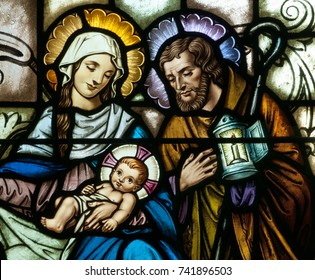 LAWRENCEVILL, NJ - October 25, 2017: Stained glass window depicting Christmas scene of Nativity of Jesus, with Mary and Joseph