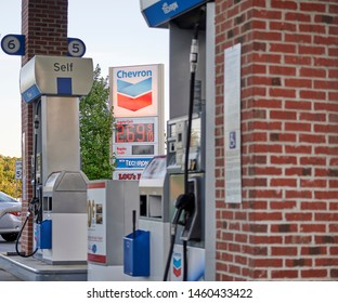 Lawrenceville, GA, US - July 21, 2019: Chevron Gas Station located in beautiful Lawrenceville Georgia on Buford Drive.