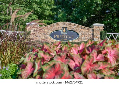 Lawrenceville, GA, US - July 26, 2019: The Preserve Subdivision Entrance located in the beautiful Lawrenceville GA / Buford Drive