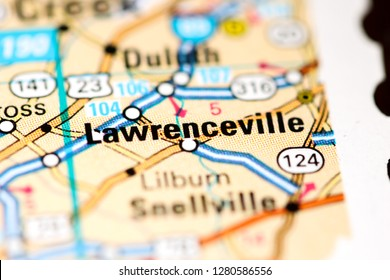 Lawrenceville. Georgia. USA on a map
