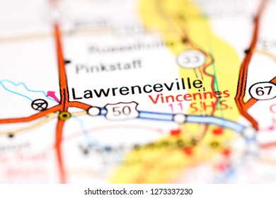Lawrenceville. Illinois. USA on a geography map