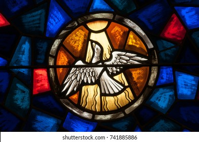 LAWRENCEVILLE, NJ - October 25, 2017: Stained glass window depicting the Holy Spirit in the form of a white dove