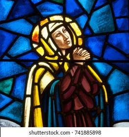 Lawrenceville, NJ - October 25, 2017: Stained glass window depicting Mary as the Sorrowful Mother in St. Ann Church