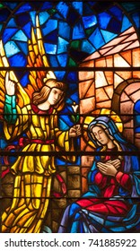 LAWRENCEVILLE, NJ - October 25, 2017: Stained glass window depicting the Annunciation of Angel Gabriel to the Blessed Virgin Mary, located in St. Ann Church