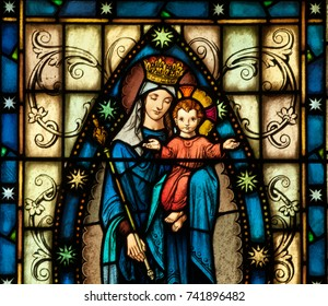LAWRENCEVILLE, NJ - October 25, 2017: Stained glass window of Blessed Virgin Mary with the child Jesus, located in Notre Dame Convent