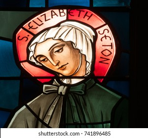LAWRENCEVILLE, NJ - October 25, 2017: Stained glass window depicting St. Elizabeth Ann Seton, American saint and founder of Daughters of Charity, a society of apostolic life