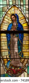 LAWRENCEVILLE, NJ - October 25, 2017: Stained glass window depicting Our Lady of Guadalupe, in St. Ann Church