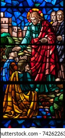 LAWRENCEVILLE, NJ - October 25, 2017: Stained glass window depicting Jesus Christ curing a blind man