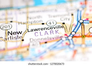 Lawrenceville. Ohio. USA on a geography map