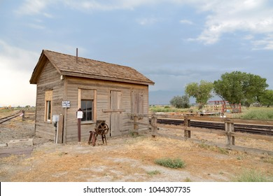 Laws, California, USA: August 30, 2017 - Old buildings at the old west town of Laws near Bishop in California