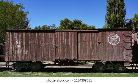 Laws, California USA: September 14, 2018: Historic Southern Pacific railroad wooden narrow gauge boxcar number 132 on display at the Laws Railroad Museum