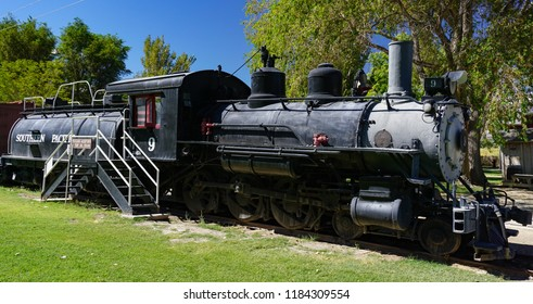 Laws, California USA: September 14, 2018: Historic Southern Pacific railroad narrow gauge locomotive 9, a Baldwin 4-6-0 oil fueled steam engine, built in 1909, and tender.