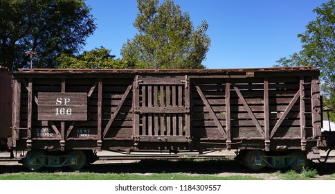 Laws, California USA: September 14, 2018: Historic Southern Pacific railroad wooden narrow gauge cattle or livestock car number 166 on display at the Laws Railroad Museum
