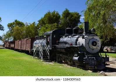 Laws, California USA: September 14, 2018: Historic narrow gauge railroad train includes locomotive 9, a Baldwin 4-6-0 oil fueled steam engine, built in 1909.