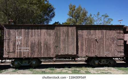 Laws, California USA: September 14, 2018: Historic Southern Pacific railroad narrow gauge wooden boxcar number 17 on display at the Laws Railroad Museum
