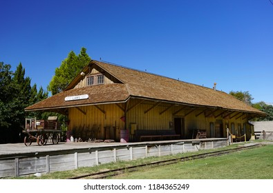 Laws, California USA: September 14, 2018: Railroad depot and loading dock built in 1883 by the narrow gauge Carson and Colorado Railroad Company to serve the Owens Valley in the Eastern Sierra