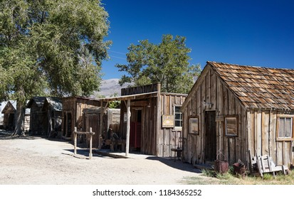 Laws, California USA: September 14, 2018: Old wooden buildings preserved from historic gold mining days in the Owens Valley of the Eastern Sierra