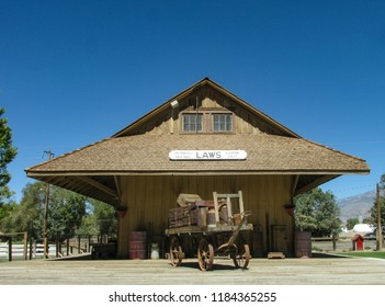 Laws, California USA: September 14, 2018: Railroad depot, platform and freight wagon. Station built in 1883 by the Carson and Colorado Railroad Company in the Owens Valley in the Eastern Sierra