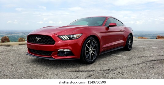 Lawton, Oklahoma / Unites states - Jul 14 2018: 2016 Ford Mustang EcoBoost w/premium package.