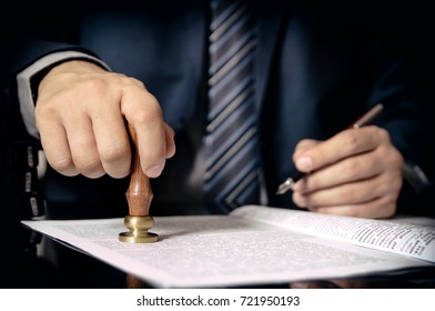 Lawyer or attorney at notary public office. notary public lawyer desk attorney office law official concept