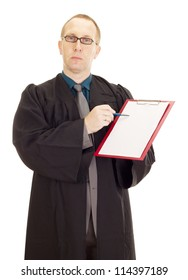 Lawyer with a blank paper on his clipboard