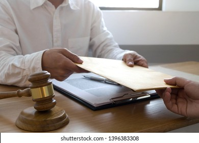 Lawyer send a contract documents to client in office. consultant lawyer, attorney, court judge, concept.