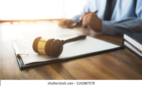lawyer working with contract insurance. selective focus
