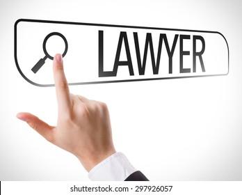 Lawyer written in search bar on virtual screen
