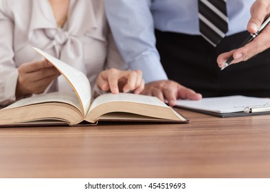 Lawyers having team meeting in law firm. Concepts of law,legal advice and services.