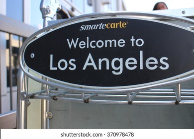 LAX, CA -26 October 2015- Editorial: SmarteCarte paying luggage carts await passengers at many airports throughout the United States.
