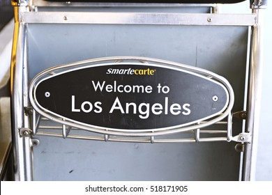 LAX, CA -7 October 2016 - Editorial: SmarteCarte paying luggage carts await passengers at many airports throughout the United States