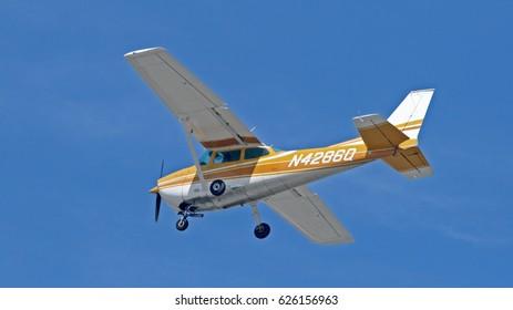 LAX, California - Sept 29, 2012: Propeller airplane on sky