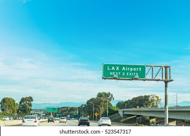 LAX exits sign in Los Angeles, California