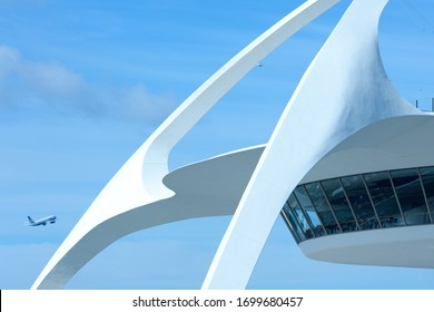 LAX, Los Angeles International Airport, Los Angeles, California - Close-up of the futuristic architecture of Theme Building.