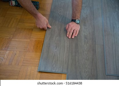 Lay vinyl floor on parquet floor