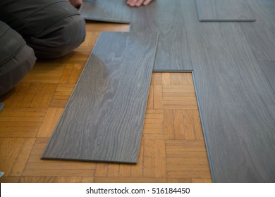 Lay vinyl floor on parquet floor
