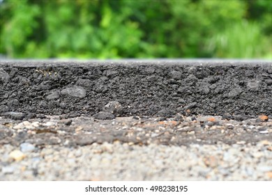 layer of asphalt raw material in a shallow dept of field