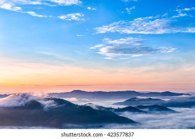 Layer of mountains and mist at sunrise time in Hatyai, Thailand