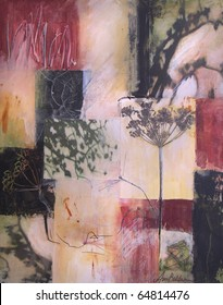 Layered acrylic abstract painting with collage photographs of shadows and fennel.