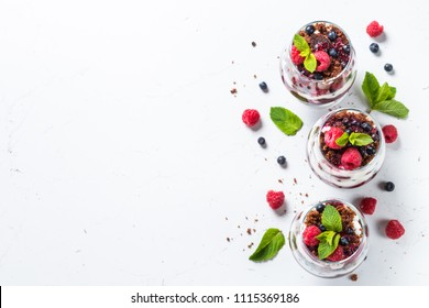 Layered dessert in a jar.
