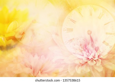 A layered horizontal photography image of clocks, time peaces, pocket watch layered in pink and yellow flowers.